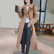 ADISPUTENT New Women Solid Color Wool Blend Long Coat Sleeve Turn-Down Collar Warm Autumn Winter Casual Jackets
