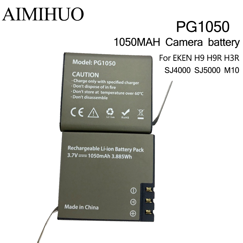 3.7V 1050mah <font><b>PG1050</b></font> Rechargeable Sport Action Camera Battery Replacement For EKEN H9 H9R H3 H8PRO SJ4000 SJCAM SJ5000 M10 SJ5000 image