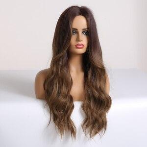 Image 3 - אלן איטון ארוך גלי Ombre שחור חום פאות גל סינטטי פאה עבור נשים טבעי התיכון חלק חום עמיד שיער קוספליי פאות