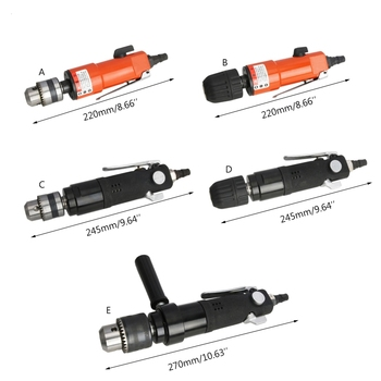 3/8\ 1/2\ Straight Shank Pneumatic Air Drill High/Medium/Low Speed Grinder 10mm high speed pneumatic drill industrial grade driller with 90 degree 3 8 elbow corner