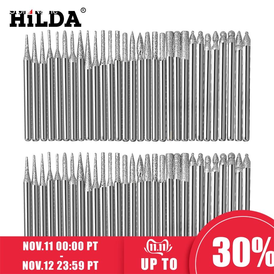 HILDA Dremel Diamond Grinding Heads 30pcs 3mm Burrs Bur Bit Set For Dremel Tool Accessories Kit Minitaladro Rotary Set