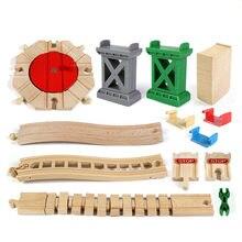 Diy faia de madeira trilha ferroviária brinquedo trem plataforma giratória ponte pier acessórios pista educacional novos brinquedos para crianças presente