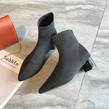 Sexy Ankle Boots For Women Black Beige Boots Plush Shoes Women Boots 2019 New Autumn Fashion Slip on Pointed Toe Heels Boots цена 2017