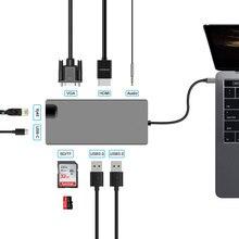 USB c HUB vers USB3.0 HDMI VGA RJ45 Gigabit Ethernet SD/TF PD AUX adaptateur de charge USB c station daccueil type c convertisseur hub 8 en 1