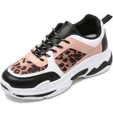 Whoholl 2019 Women Casual Shoes Spring Fashion Leopard Print Breathable Hollow Lace-Up  Sneakers Vulcanized 40