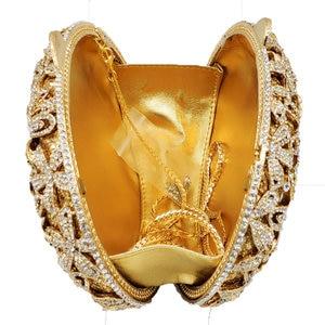 Image 4 - Boutique De FGG Socialite Hollow Out Women Flower Crystal Evening Bags Wedding Party Diamond Minaudiere Handbag Bridal Clutch