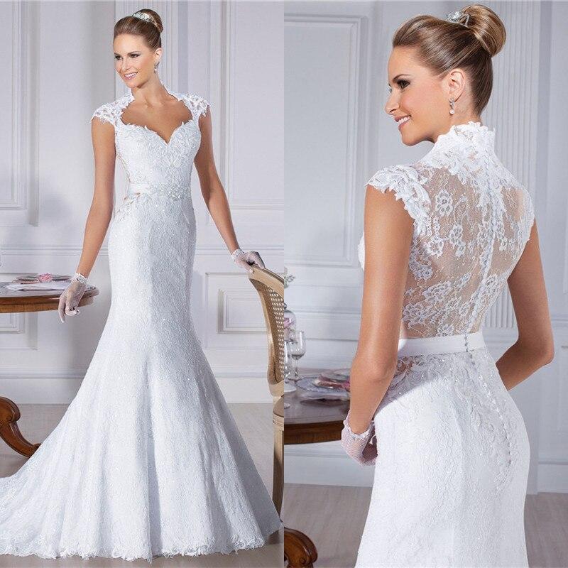 Excellent High Quality Sweetheart Cap Sleeve See Through Back Sash Appliqued Lace Vestido De Noiva Sereia 2015 IZ29
