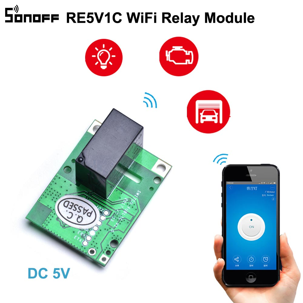 SONOFF RE5V1C Relay Module 5V WiFi DIY Switch Dry Contact Output Inching/Selflock Working Modes APP/Voice/LAN Control Smart Home