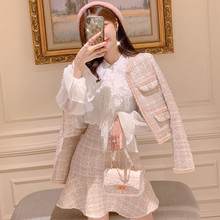 Small fragrant Wind Tweed Suits Fall Winter Women Pink Plaid Weave Woolen Jacket Coat+ Tassel Ruffles Mermaid Bodycon Skirt Set
