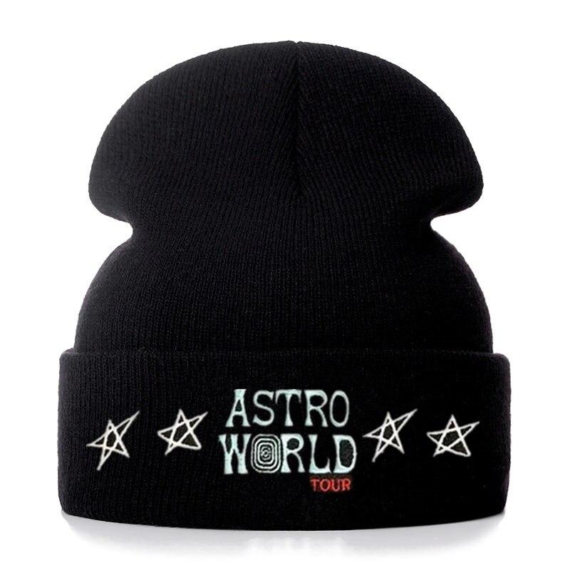Travis Scott Astroworld Star Embroidery Cotton   Beanies   Men Women Knitted Winter Hat Solid Color Hip-hop   Skullies   Hat Unisex Cap