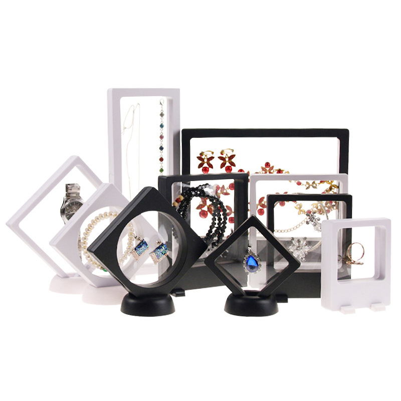 3D Floating Picture Frame Shadow Box Jewelry Display Stand Ring Pendant Holder Protect Jewellery Stone Presentation Case