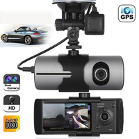 2.7 Inch Wide Angle Driving Recorder GPS USB High Definition G Sensor HD Trace Dual Lens Car Mounted Dash Cam Motion Detection
