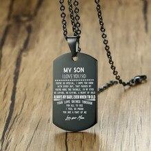 Hip hop rock para o meu filho amor pai mãe colar inspirador carta aço inoxidável tag pingente colares presente de natal