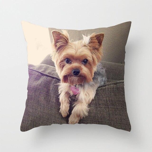 Housse de décoration de coussin 1 pièce   Motif imprimé, mignon chien Yorkie BICHON Dog Yorkshire, canapé de chambre à coucher, couverture coussins de taille, décoration de voiture