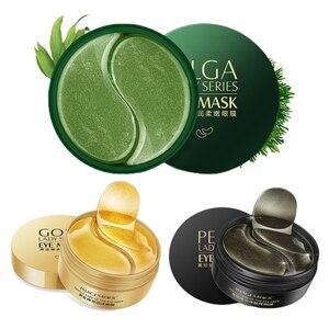 Image 1 - 3 garrafas 180 pçs colágeno máscara de olho rosto anti rugas gel remendos máscara de sono colágeno hidratante máscara de pérola preta máscara de algas