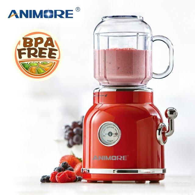 ANIMORE портативный Электрический блендер, соковыжималка для фруктов, молочный коктейль, миксер, многофункциональная машина для приготовления сока в стиле ретро