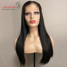 Duplo desenhado em linha reta remy cabelo fechamento do laço peruca 100% cabelo humano peruca do laço para as mulheres pré arrancado nós descorados arabella cabelo