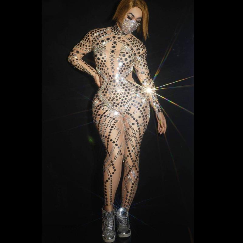 Серебряный Блестящий зеркальный телесный комбинезон с длинным рукавом для девушек, певиц, танцовщиц, ночных клубов, наряд для шоу, трико, та