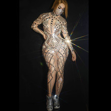 Nude Jumpsuit Outfit Sequins Leotard Dance-Costume Performance Long-Sleeve Nightclub
