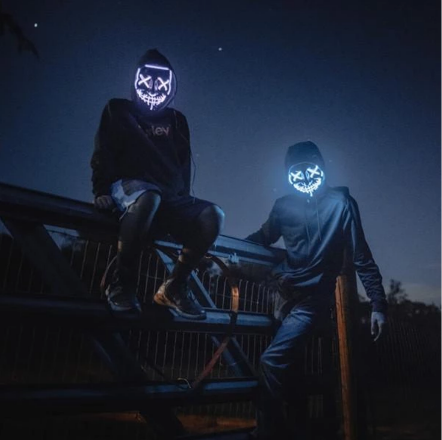 10 Colors Halloween LED Mask Purge Masks Election Mascara Costume DJ Party Light Up Masks Glow In Dark Punk Fashion Cosplay