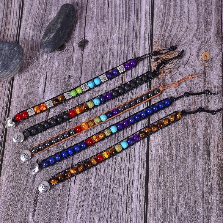 Hfa51d669f31b49f5b3886c397f610b1es - New Colorful 7 Chakra Bead Leather Rope Braided Bracelet Natural Tiger's Eye Volcanic Stone Energy Yoga Bracelet Women Jewelry