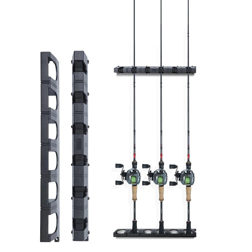 fishing rod pole reel holder garage wall mount stand shelf 6 rod rack organizer storage lock fishing pole rack
