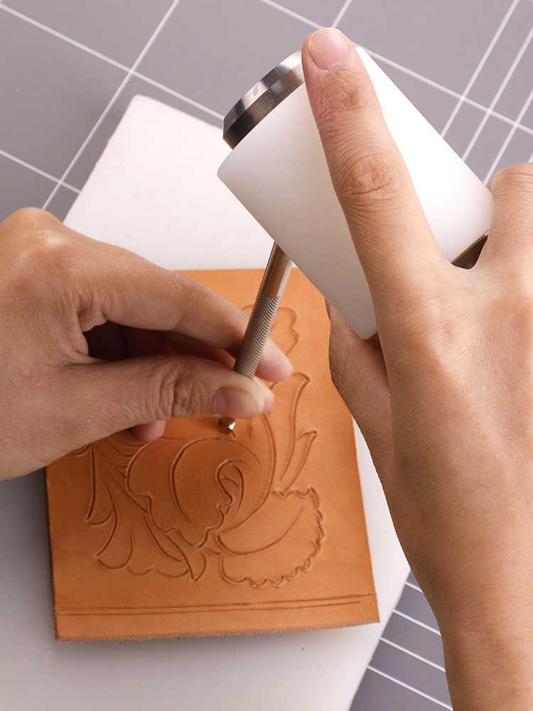Skórzana rzeźba młotek DIY Craft skóra bydlęca cios młotek nylonowy narzędzie z drewnianą rączką młotek do wytłaczania skóry
