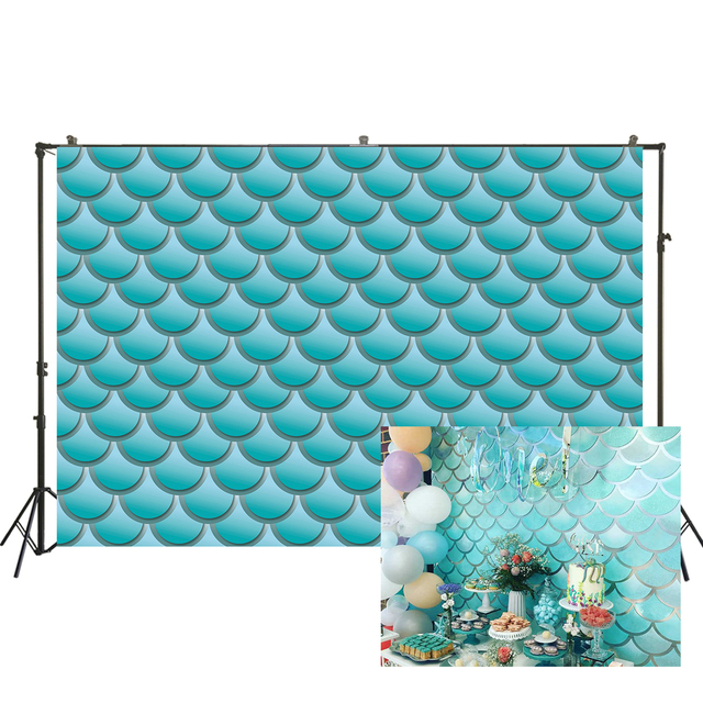 Zhy 5x7ft Glittering Shell Backdrop Cartoon Fantasy Starry Blue Photography Background Baby Shower Newborn Kids Birthday Party Decoration Backdrop Mural 039