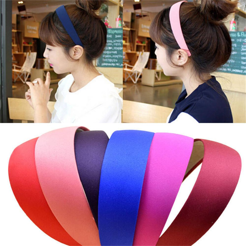 Hot 1PC Plastic Fashion Canvas Wide Headband Hair Band Headwear Bezel Hair Accessories For Woman Satin Covered Resin Hairbands