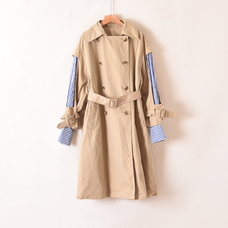 On57 automne vêtements Double boutonnage de ceinture manches Joint chemise rayures faux deux pièces mi-long sur le genou élégant Trench C