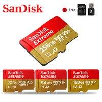 Cartão ultra 128 mb/s class10 u1/u3 4 k do microsd tf com adaptador para o telefone sandisk micro sd 256 gb 64 gb 32 gb cartão de memória extremo ultra 100 gb|Cartões de memória| |  -