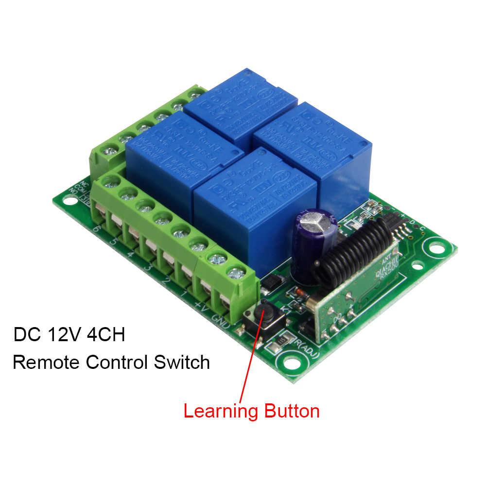 QIACHIP 433Mhz تيار مستمر 12 فولت العالمي اللاسلكية RF التحكم عن بعد 4CH تتابع راديو وحدة الاستقبال وجهاز التحكم عن بعد الذكية الارسال