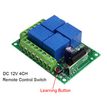 QIACHIP 433Mhz Universal Wireless Remote Control Switch DC 12V 4 CH RF Relay Receiver Module For Smart Home Garage Gate 433 Mhz(China)