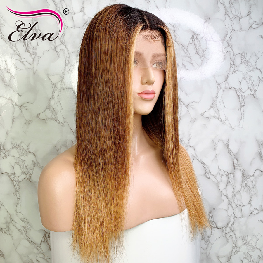 Elva Hair Ombre Lace Front Human Hair Wigs Brazilian Remy Hair 13*6 Lace Wigs 3T Pre-Plucked Wigs With Baby Hair Straight Wigs