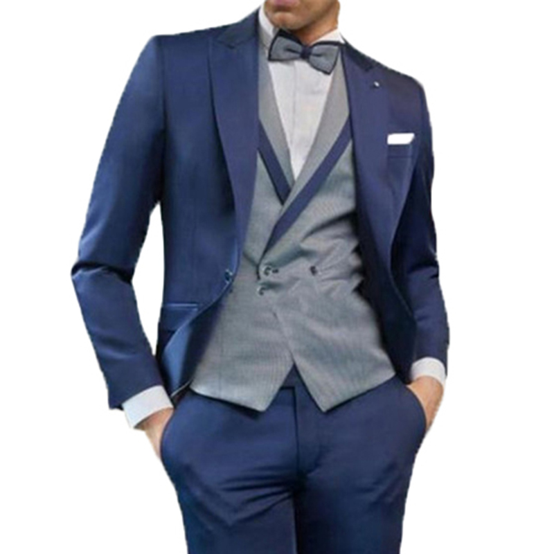 New Arrival 2020 Fashion Formal Italian Men's Bespoke Business Wedding Suits Male 3 Pieces Grooming Tuxedos Suits Traje Hombre