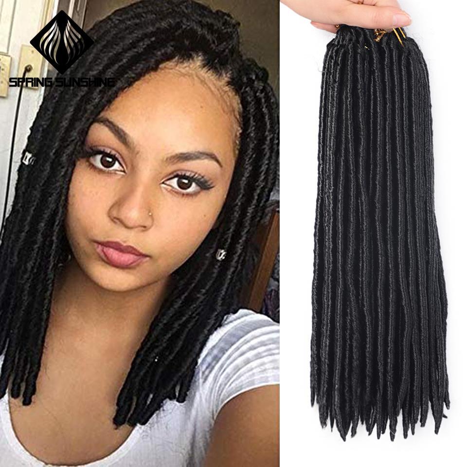 Spring Sunshine 14inch Soft Faux Locs Crochet Braids Dreadlocks Synthetic Braiding Hair Extension Afro Hairstyles Black Women