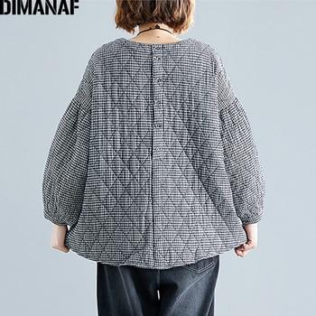 DIMANAF Plus Size Women Pullover Tops Autumn Winter Thick Cotton Clothing Loose Oversize Vintage Plaid