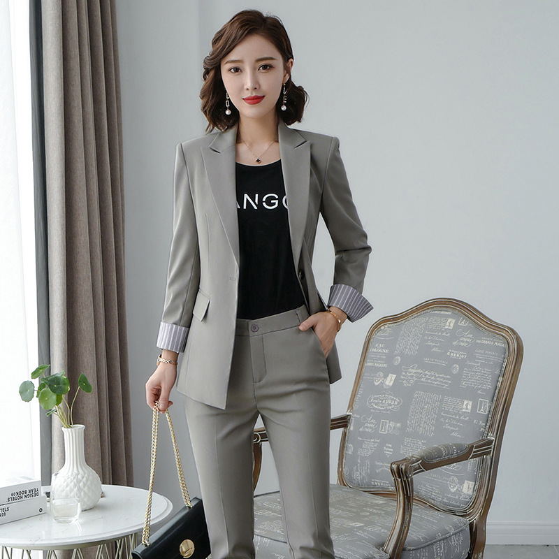Women's clothes autumn and winter new fashion solid color single buckle lapel suit suit urban capable female overalls two-piece 38