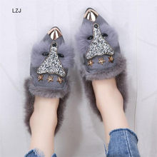 LZJ 2019 Women Fashion Pointed Metal Toe Fox Fur Crystal Bling Ankle Boots Flat Heel Warm Winter Luxury Shoes Black Gray(China)