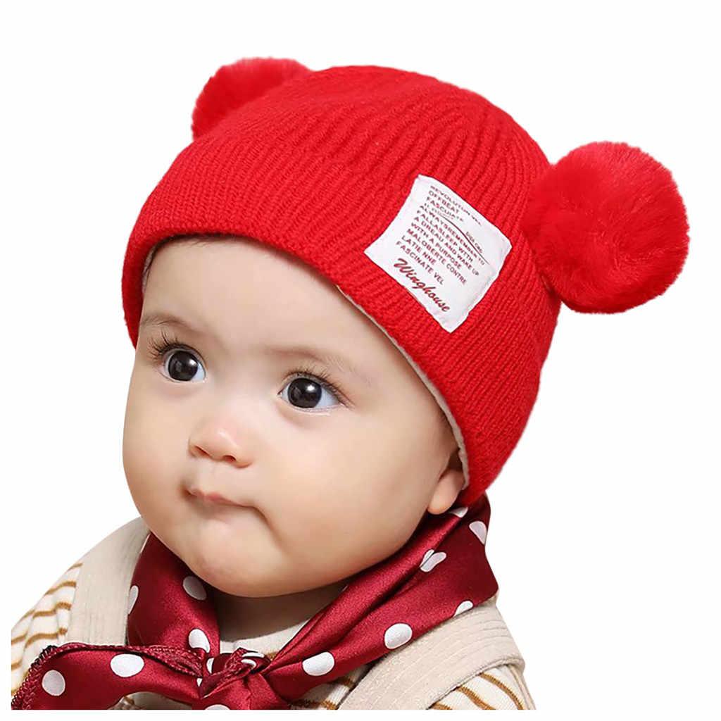 Invierno Bebé niño niña sombrero lindo oso niño gorro orejeras cálido gorra tejida a ganchillo color sólido doble gorra bebé cálido invierno sombrero
