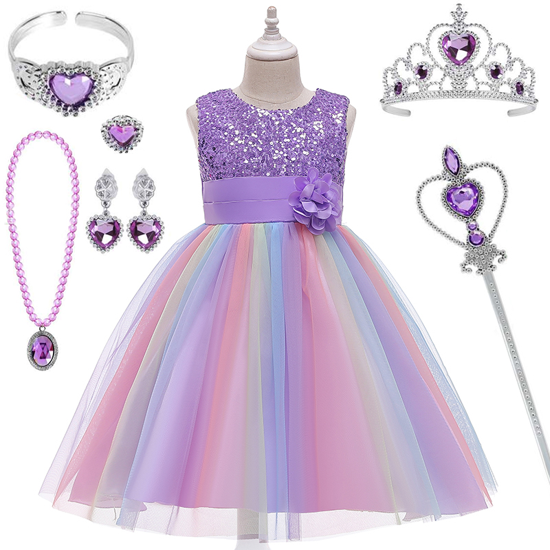 2020 Girl Summer Dress For 3-10 Years Girls Kids Birthday Party Princess Dresses Children Flower Gown Costume Clothes Crown Set