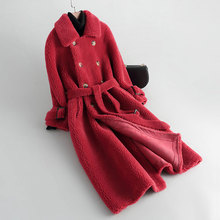 New Granule Cashmere Coat Women Autumn and Winter 2019 Fashion Compound Double-faced Fur Outerwear  Medium-long Wool