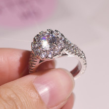 Flash-encrusted 100% 925 Sliver Real Diamond Ring for Women Round Anillos Bizuteria Engagement Topaz Gemstone S925 Jewelry Rings(China)