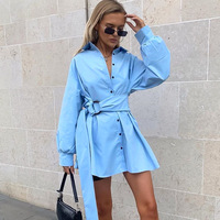 Women turn down collar long sleeve tunic shirt dress frocks High waist dress with sashes Elegant button design dresses Vestidos