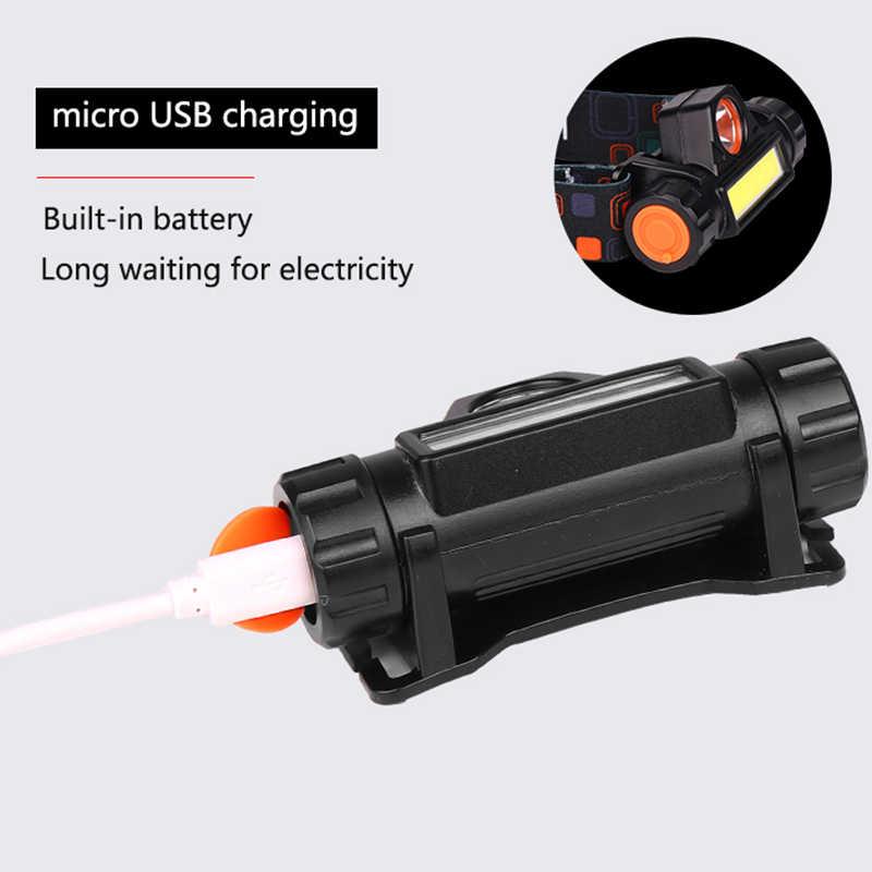 Mini phare de LED puissant Portable XPE + COB USB Rechargeable phare batterie intégrée étanche tête torche lampe frontale