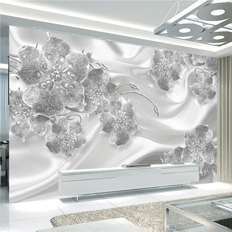 Custom Mural Wallpaper 3D Stereo Jewelry Flowers Silk Wall Paper Living Room TV Sofa Luxury Home Decor European Style Wall Mural