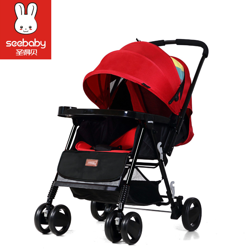 Seebaby T11 Stroller Can Sit Lie and Change Direction, Four Wheel Shock Proof Stroller