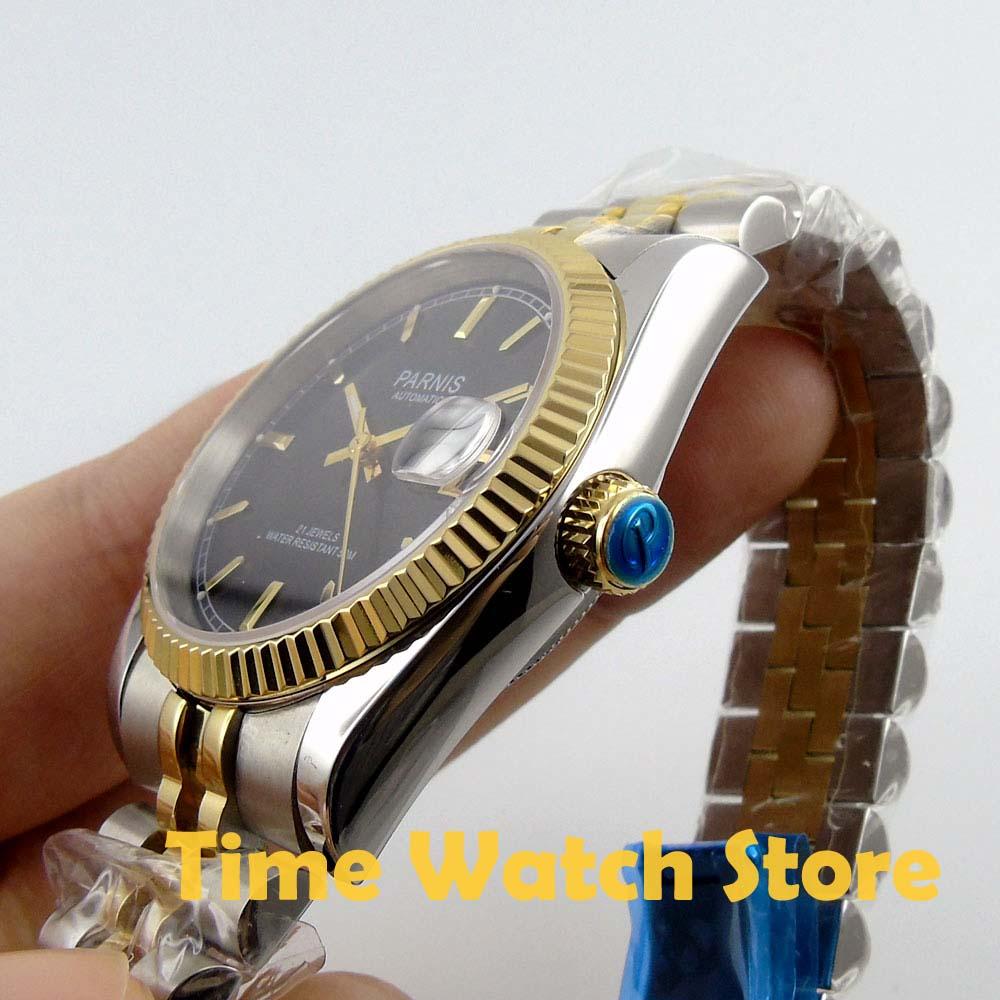 Карнавал мужские бизнес Тритий Светящиеся автоматические механические часы наручные часы золотой ободок белый циферблат - 4
