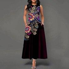 Длинное винтажное платье с карманами и круглым вырезом, без рукавов, с высокой талией, с цветочным принтом, женское платье макси в винтажном стиле, офисное, женское, ретро, элегантное