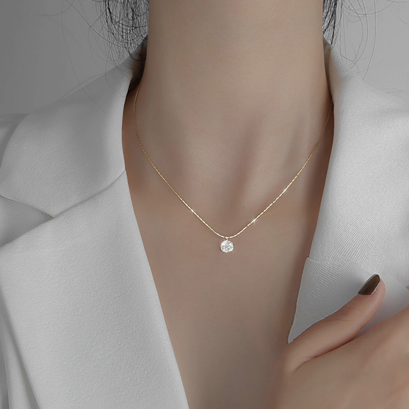 New 925 Sterling Silver Full Zircon Disc Choker Necklace Shiny Round Pendant Snake Chain Wedding Gift For Women Fine Jewelry